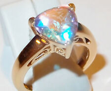 4ct Mercury Mystic Topaz solitaire in gold overlay Sterling Silver, Size O.