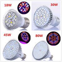 New 18/30/45/80W LED Grow Light E27 Lamp Bulb for Plant Hydroponic Full Spectrum
