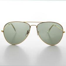 Vintage Originale in Metallo Stile Pilota Occhiali da Sole con Vetro Lenti 60mm