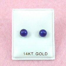 14K White Gold - 5mm Lapis Ball Stud Earrings (GE352)