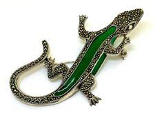 Salamander Brosche  Markasit & grüne Emaille  925er Silber