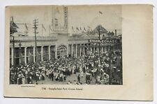 NYC Postcard Steeplechase Park Coney Island Brooklyn entrance crowd signs flags