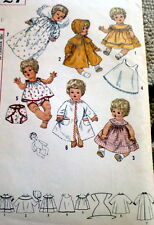 """GREAT VTG 1960s 20"""" LARGE TODDLER BABY DOLL CLOTHING SEWING PATTERN"""
