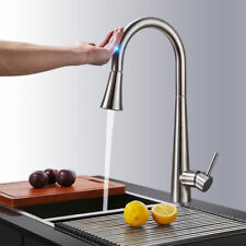 Touch Sensor Brushed Nickel Swivel Kitchen Sink Faucet Pull Out Spray 1 Hole Tap