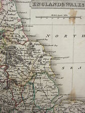 1813 DATED ANTIQUE MAP ~ ENGLAND & WALES ~ LINCOLN STAFFORD DURHAM YORK SUSSEX
