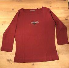 Shirt S. Oliver, Gr. 42, rot, dunkelrot, Langarm mit Aufdruck
