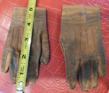 """Charming Antique Brown Kid Red Stitched Fownes Co. Leather Gloves for Doll 5"""""""