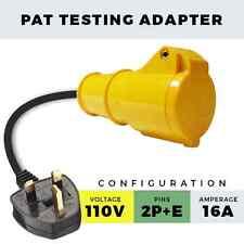 YELLOW 110V PAT TESTING ADAPTER 2P + E 16A PORTABLE APPLIANCE ADAPTOR 13A PLUG