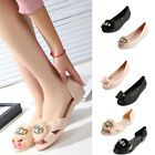 New Womens Flat Pumps Dolly Ballet Ballerina Pom Pom Bow Slip-On Sandals Shoes