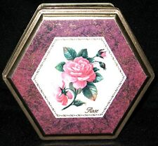 "Beautiful Rose Tin, Rose Design Multi Color 6 sides 6"" x 6"" x 2 1/2"" 1980-Now"