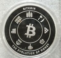 Bitcoin 1 oz .999 silver commemorative Limited BITPAY evolution of money BTC NEW