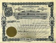 Vintage Collectible Macon Mining Company Stock Certificate Macon GA 1900