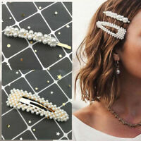 2x Casual Pearl Hair Clip Hairband Bobby Pin Barrette Hairpins Women Accessories