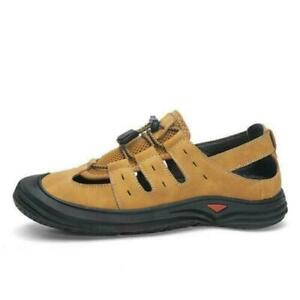 Mens Closed Toe Leather Fisherman Sandals Adjust Strap Sports Walking Size Shoes