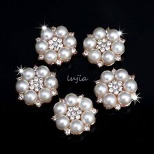 5Pc Pearl Crystal Rhinestone Buttons Flower Flatback Wedding Craft Embellishment