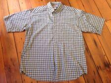 "Columbia Madras Plaid Green Blue 100% Cotton Button Up Short Sleeve Shirt XL 50"""