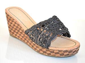 ZOCCOLI donna zeppa neri marrone fascia scarpe sandali estivi A5