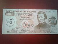 Uruguay 5 Nuevos Pesos on a 5000 Pesos Banknote ND *UNC* #%