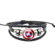 Captain America Adjustable Leather & Glass Cabochon Wristband