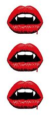 3x Vampir Lippen Blutig Aufkleber Motorrad Helm Stoßstange Laptop Skateboard #02