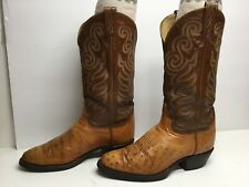 Vtg Mens Tony Lama Cowboy Smooth Ostrich Skin Light Brown Boots Size 7.5 E