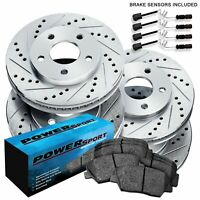 Front /& Rear Drill Slot BRAKE ROTORS /& CERAMIC Pads For Mercedes S350 RWD W220