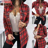 Women's Plaid Check Shirt Tee Tops Ladies Casual Long Sleeve Slim T Shirt Blouse