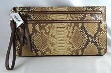 COACH MADISON EMBOSSED PYTHON BROWN LEATHER LARGE WRISTLET 51141