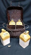 Two's Company Travel Liquor Decanters in a basket Gin, Sherry, Brandy & Irish