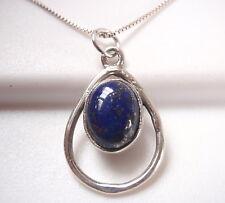 Lapis Oval in Hoop 925 Sterling Silver Necklace Corona Sun Jewelry