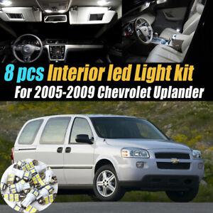 8Pc Super White Car Interior LED Light Bulb Kit for 2005-2009 Chevrolet Uplander