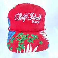 Vtg HAWAII tropical flower big island Hat cap red snapback trucker 90s h3 cc7fb847c7f4