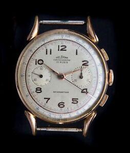 CHRONOGRAPH VINTAGE DELBANA VENUS 175, IMPECCABLE MARCHING. 20 MICRON GOLDEN