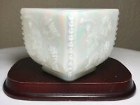 "Fenton Iridescent White Milk Glass Harvest Grape 3.5"" Square Planter Vase Signed"