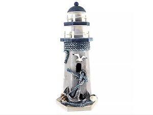 "Anchor Wooden Lighthouse TableTop Decor Nautical Lighthouse Home Decor 10""H"