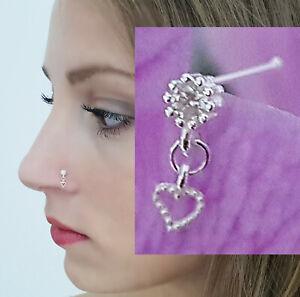 925 Echt Silber Herz Nasenpiercing Nasenstecker Nasenring Stecker Piercing Neu