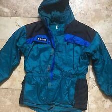 COLUMBIA Sport Youth Blue/Green Size18-20 Heavy Weight Winter Coat Hood Ski