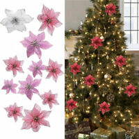 10Pcs/Sets Glitter Christmas Poinsettia Flower Clip On Xmas Tree Decor Gifts