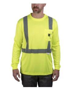 Walls Hi -Vis Long Sleeve Safety Tee Reflective Yellow Long Sleeve Shirt Mens 2X