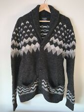 Abercrombie Mens Shawl Cardigan / Size L / A&F Button Sweater Dark Gray Pattern