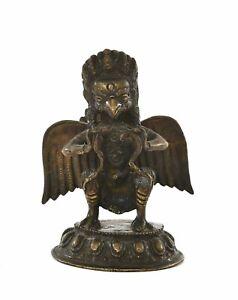 19C Chinese Tibetan Nepal Bronze Buddha Garuda Winged God Figure Figurine 750G