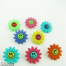 Blüten 2-farbig mit Gesicht Smiley 2cm farbenmix 8 Knöpfe je Packung Basteln