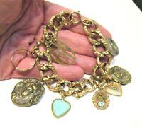 VICTORIAN 12K GOLD FILLED CHARM BRACELET 9 CHARMS TOUGH GOLD 35.9 GRAMS