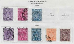 8 Yugoslavia Postage Due Stamps from Quality Old Antique Album 1931-1932