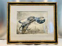 """DESSIN à l'encre XIXe  """"L'oiseau et la vipère"""" signé Eugène GIRARDIN (1861-1898)"""
