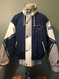 Vtg 1990s 90s Pro NFL Dallas Cowboys Puffy Ski Jacket Mens L Hood Parka Coat Zip
