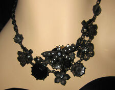 BETSEY JOHNSON BLACKOUT DRAGONFLY AND FLOWERS NECKLACE