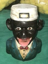 CAST IRON BLACK AMERICANA JOLLY NEGRO JE STEVENS MECHANICAL BANK 1896 PAT