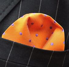 Hankie Pocket Square Handkerchief Orange with Purple Spot