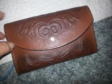 VTG 50s Mexican Hand Tooled Rustic Leather Wallet Mutiple Dividers / Coin VGUC